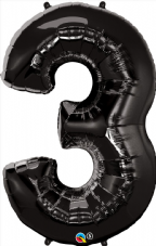 Number 3 Black Super Shape Number Foil Balloon